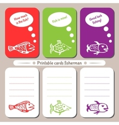 Printable cards fisherman vector