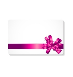 Gift card with pink bow and ribbon vector
