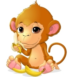 Beautiful monkey that holds bananas vector