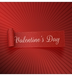 Valentines day realistic scroll textile red ribbon vector