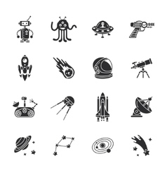 Sixteen stylish space icons vector