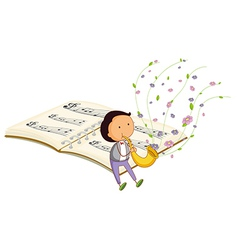 A boy with a trumpet and a music book at the back vector image