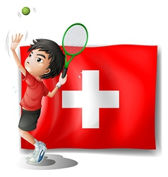 A tennis player in front of the Switzerland flag vector image