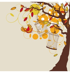 Abstract autumn background with tree vector