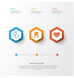 Antibiotic icons set collection of dental device vector
