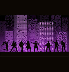 Band show on night city background at purple vector