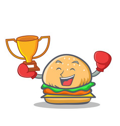 Boxing burger character fast food winner vector