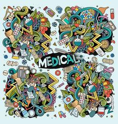 cartoon set of medical doodles designs vector image vector image