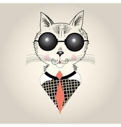 Cat portrait hipster vector