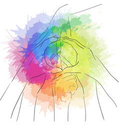contour of human hands and sign of peace with vector image vector image