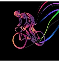Cyclist in a bike race color clipart vector