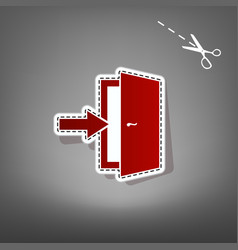 Door exit sign red icon with for applique vector
