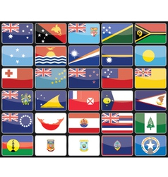 Elements design icons flags of the countries of Au vector image
