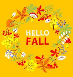 fall season wreath autumn border with bright vector image