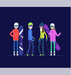 Friends goes snowboarding and skiing - modern flat vector