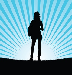 Girl silhouette in nature vector
