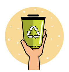 Hand holding recycle can vector
