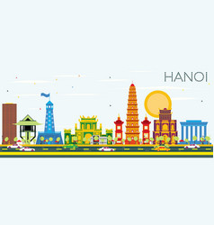 hanoi skyline with color buildings and blue sky vector image vector image