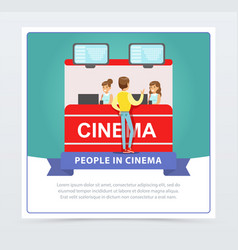 man buying tickets at box office people in cinema vector image