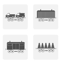 monochrome icon set with train vector image