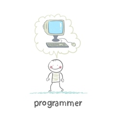 programmer thinks about the computer vector image vector image
