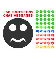 serious smiley icon with bonus emoticon clipart vector image