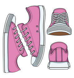 set of with pink sneakers vector image vector image