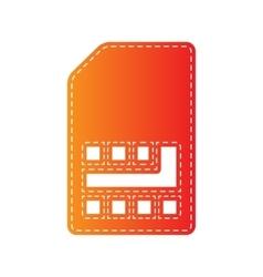 Sim card sign orange applique isolated vector