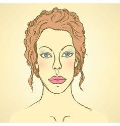 Sketch cute woman face vector image
