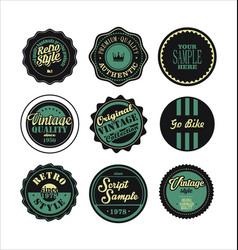 Vintage labels black and green set 2 vector