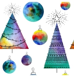 Watercolor balls and christmas tree vector