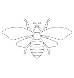 White silhouette of the bee vector