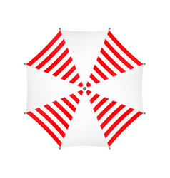 White Umbrella With Red Stripes Top View vector image