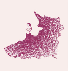 woman silhouette in dress vector image vector image