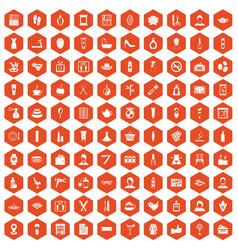 100 beauty salon icons hexagon orange vector