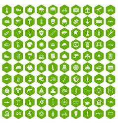 100 helmet icons hexagon green vector