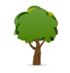 A stylized drawing of a green oak tree vector