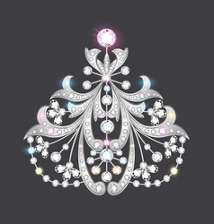 Brooch with and precious stones filigree vector