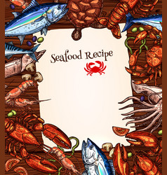 Seafood recipe blank design of fishes catch vector