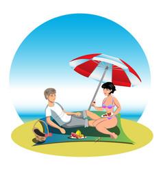 boy and girl on holiday vector image