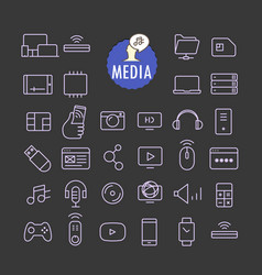 Different media icons collection web and mobile vector