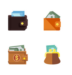Flat icon billfold set of billfold pouch wallet vector