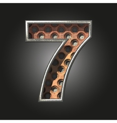 Old metal letter 7 vector