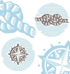 Vintage marine symbols icon set engraving knot and vector