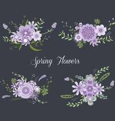 Chalkboard spring purple flowers vector