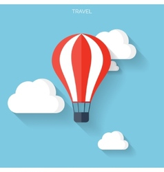 Flat air balloon with clouds web icon vector
