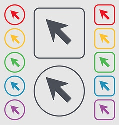 Cursor arrow icon sign symbol on the round and vector