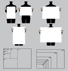 people holding blank poster templates set vector image