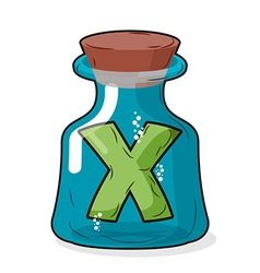 Letter x in bottle for experiments letter in vector