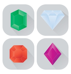 Diamond icons set with long shadow vector